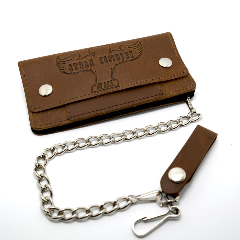 WINGER LEATHER CHAIN WALLET (브라운)