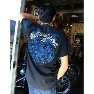 MOON CUSTOM CYCLE SHOP Pinstripe T-Shirt [ TM717 ]